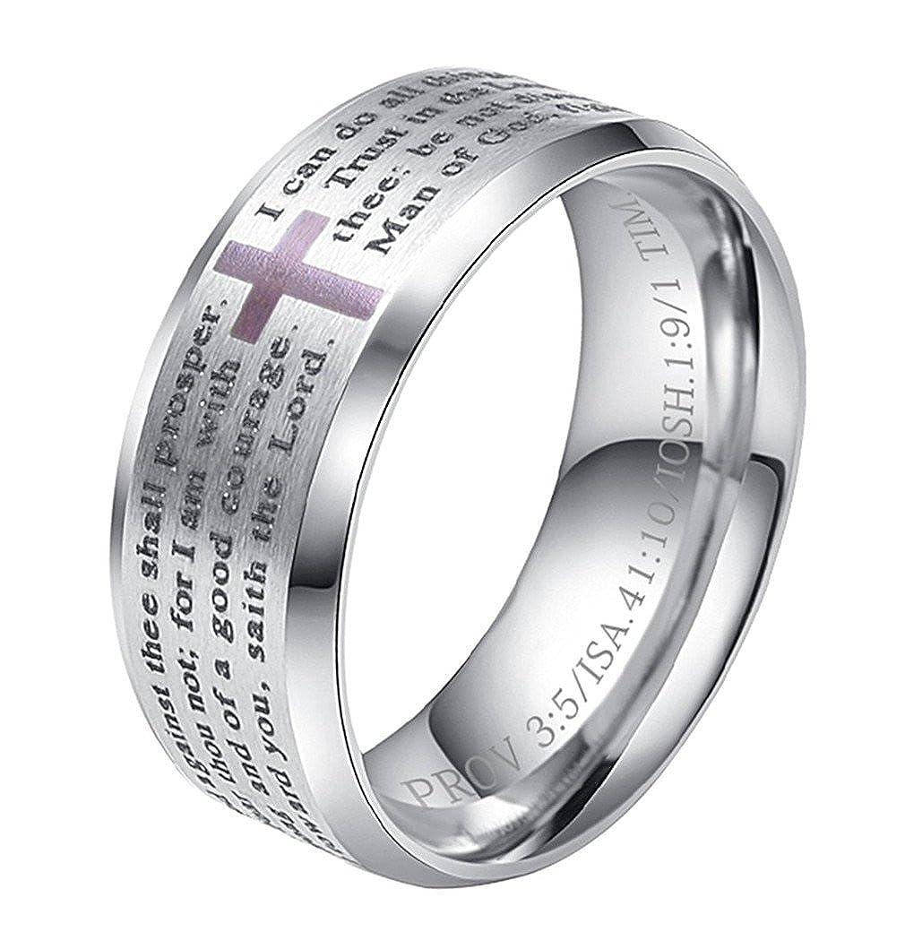 b16fac0fbf INRENG Men's Stainless Steel Bible Verse Christian Lord's Prayer Cross Ring  Wedding Bands Engraved Praying|Amazon.com