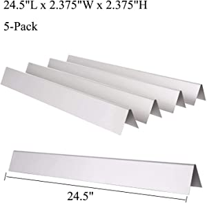 GasSaf 24.5 inch Flavorizer Bar Replacement for Weber 7539, 7340, Genesis 300 Series E-310, E-320, S-310, S-320, EP/CEP 310 & 320 (with Side Mounted Control Panels), 5-Pack Stainless Steel Flavor Bar
