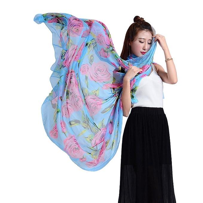dce72deb5e3d Bigood Écharpe Imprimé Fleur Vogue Foulard Imitation Soie Cape Châle Plage  Bleu