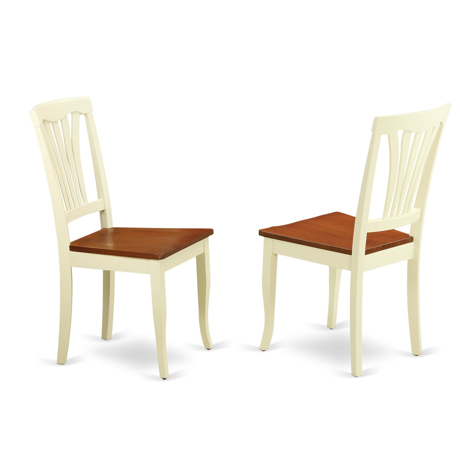 East West Furniture AVC-WHI-W Dining Chair Set with Wood Seat, Buttermilk/Cherry Finish, Set of 2