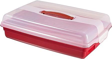CURVER 219977 Porta-Tartas y Pasteles Redonda con Tapa Reversible, Resina, Transparente y Rojo, 31 x 31 x 8 cm: Amazon.es: Hogar