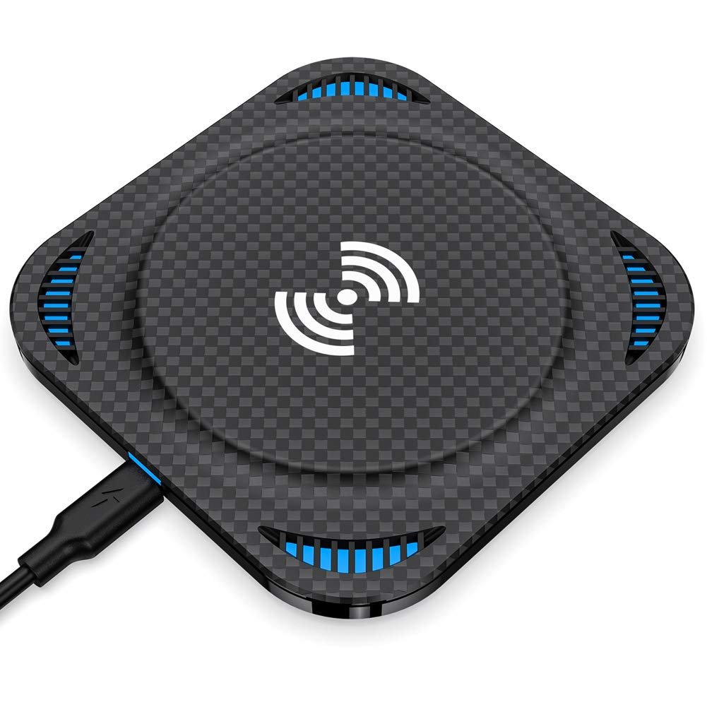 Fast Wireless Charger, Amuoc 10W Qi-Certified Wireless Charging Pad, Compatible iPhone Xs Max/XR/XS/X/8/8 Plus, 10W Fast-Charging Galaxy S10/S9/S9+/S8/Note 9/Note 8 (No AC Adapter) - 2019 New Version by Amuoc