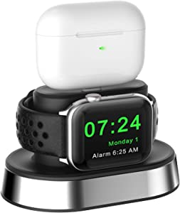 HALLEAST 2 in 1 Charging Station Compatible Apple Watch and Airpods Pro 2 1, Metal Charger Stand Holder Dock Compatible Apple Watch SE, Series 6 5 4 3 2 1, Original Charger Cables Required