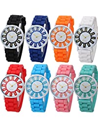 8 Pack Women Ladies Sports Silicone Watch Jelly Dress Silicon Brand Quartz Wrist Watches