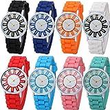 Yunanwa 8 Pack Women Ladies Sports Silicone Watch Jelly Dress Silicon Brand Quartz Wrist Watches