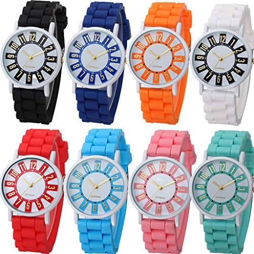 Yunanwa 8 Pack Women Ladies Sports Silicone Watch Jelly Dress Silicon Brand Quartz Wrist Watches