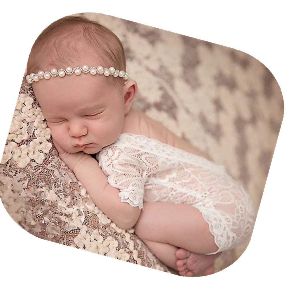Fashion Cute Newborn Baby Girls Photography Props Lace Romper Photo Shoot Props Outfits (Lace Romper+Headband) by Vedory