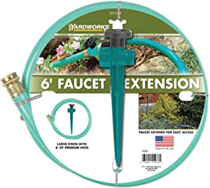 Yardworks 5/8 inch x 6 ft Faucet Extension Garden Hose Kit Vinyl, 500 PSI Max - Made in USA