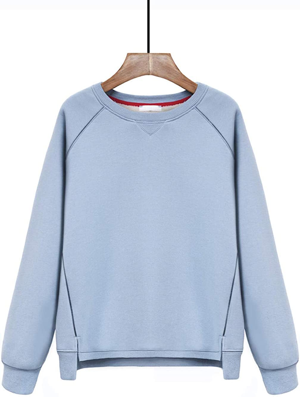 Blau S xiami Lamb Sweater Sweater Damen Herbst Winter Sweatshirt New Plus samtgepolsterter, lockerer Rundhalspul r, kappenloser Lammfellmantel