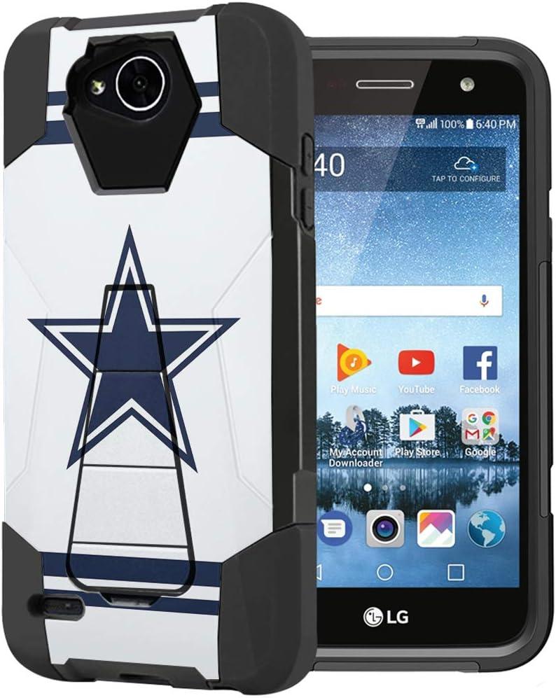 Capsule Case Compatible with LG Fiesta 2 (L163BL), LG X Power 2 (M320), LG X Charge (M322), Fiesta LTE, K10 Power, LS7 4G LTE [Dual Layer Combat Kickstand Case Black] - (Cowboy)