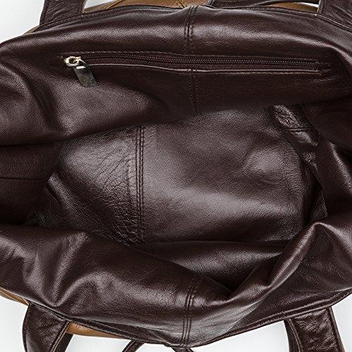 Zerimar Bolso Reversible de Piel para Mujer Bolso de Hombro con gran capacidad 40x20x25 cm marron-camel