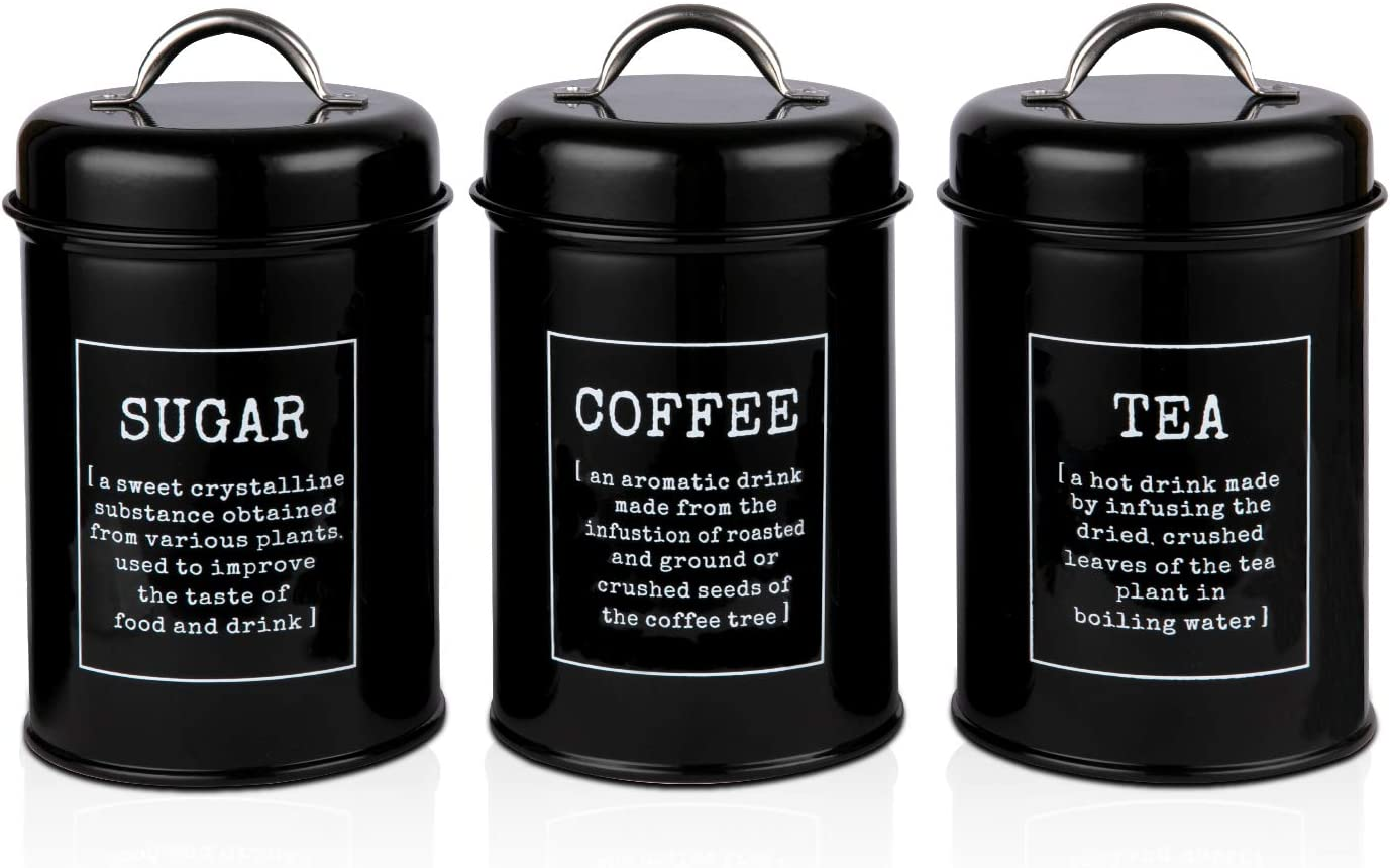 PAOPASE Airtight Kitchen Canister Decorations with Lids, Black Metal Rustic Farmhouse Country Decor Containers for Sugar Coffee Tea Storage (Set of 3)
