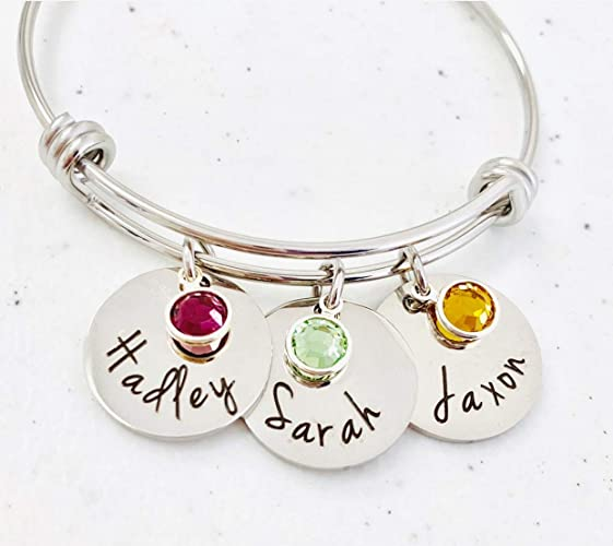0244a219f0ad5 Personalized Bangle Bracelet Mothers Day Birthstone Names