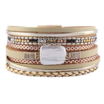 AZORA Leather Cuff Bracelet Multi Rope Wrap Bangle with Pearl Metallic Heart Cuffs Bracelets for Women Teen Girl Gift