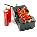 4X Angopower Wiederaufladbare 3.7V Lithium-Ionen 18650 Akkus (3000mAh/3,6V-3,7V/30A/Li-Ion, 4er Pack ) und 2 Kanal Ladegerät für 18650 Akku Batterie - Anwendbar für Taschenlampen, nicht für Elektronische Zigarette