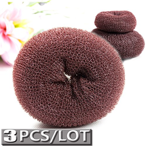 Metropolis One Light - 3 Pcs Hair Donut Bun Maker Set Hair Bun Ring Sock Bun Style for Kids Woman Extra (1 Large 1 Medium 1 Small) (Brown)