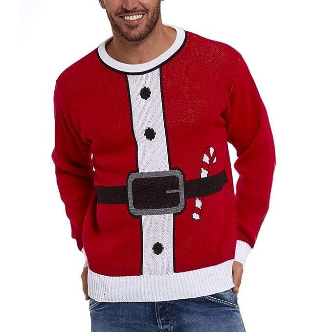 ALIKEEY Los Hombres De Navidad Impresa Jersey De Invierno De Punto Top  Rayado Suéter Ropa De Abrigo Blusa Slim La Personalidad Moda Blusa Básico  Camisa de ... cf7c4dc5f634e