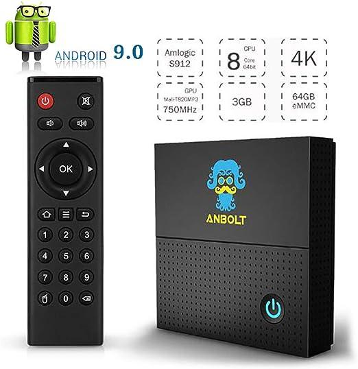 Android 9.0 TV Box, 3 GB RAM 64 GB ROM Amlogic S912 Quad-Core Cortex-A53 Mali-T720MP2 Reproductor Multimedia, Compatible con 4K H.265 100M LAN Internet 2.4Ghz WiFi 3D USB 3.0 TV Box: Amazon.es: