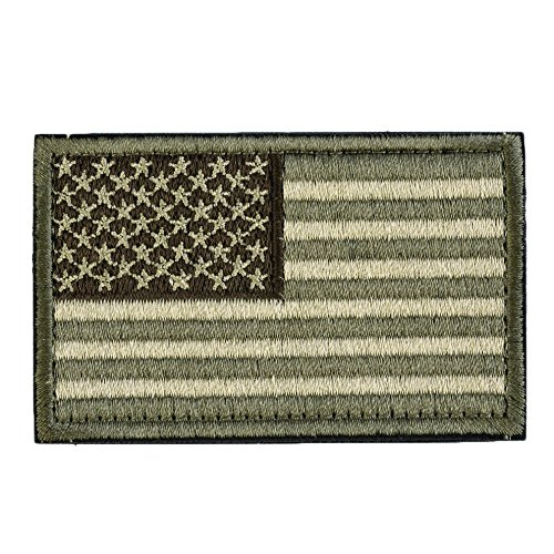 Backwoods Barnaby USA Tactical Morale American Flag Patch with Hook & Loop for Operator Hats, Backpacks, and Military Uniforms (Olive Drab Green Multicam, 2