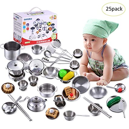 Childrens Cooking Toy Set Kitchen Cutlery Simulation Super Anti Fall Stainless Steel Play House Cooking Rice Kitchenware Model Toys & Hobbies Pretend Play