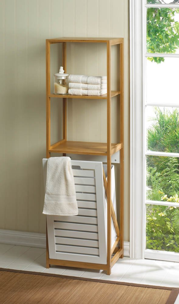 Amazon.com: Wood And Bamboo Hamper And Shelf Unit: Home & Kitchen