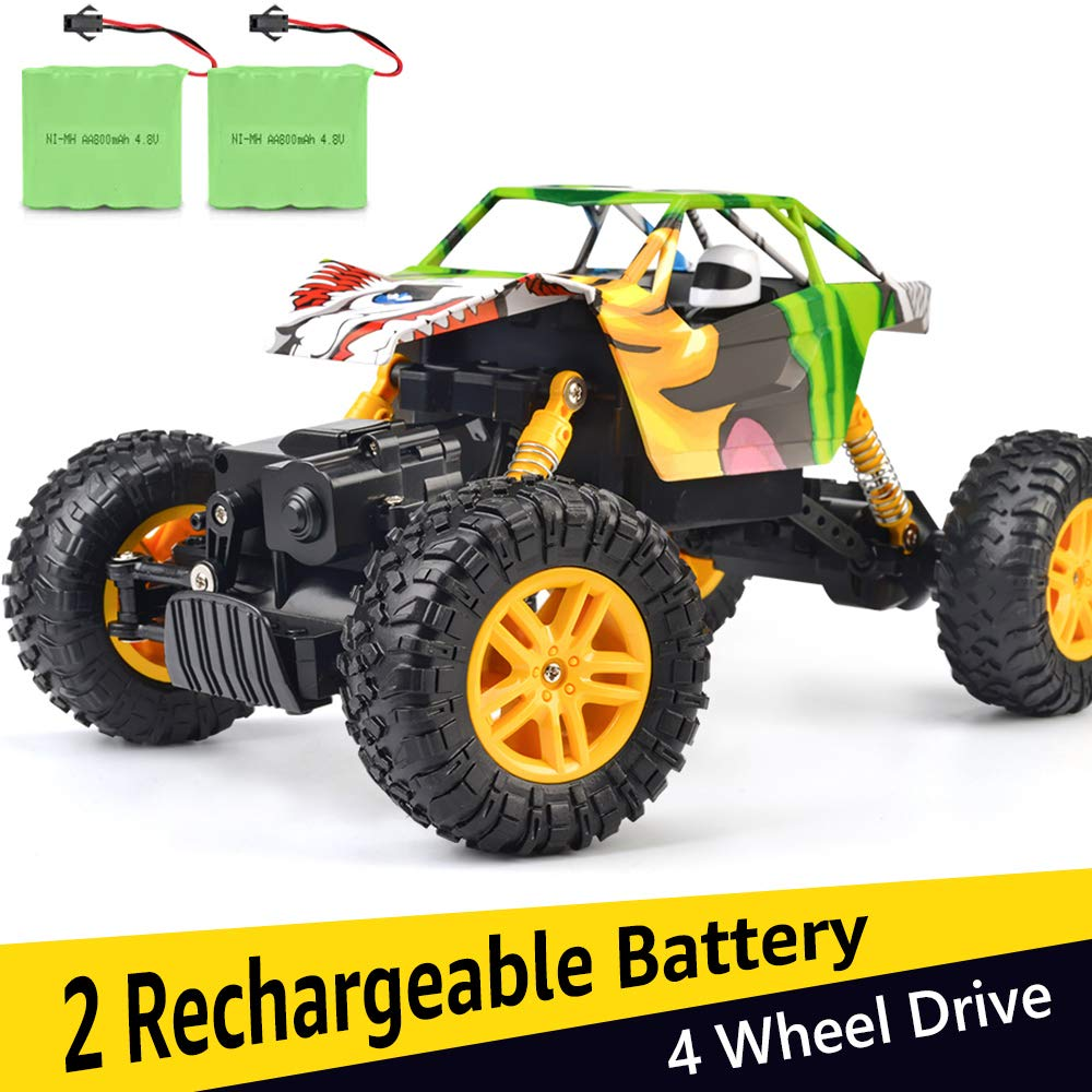 DOUBLE E RC Cars 1:18 Dual Motors Rechargeable Remote Control Truck 4WD Off Road RC Truck Rock Crawler by DOUBLE  E