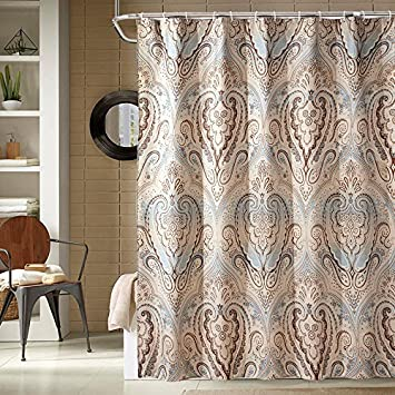 Popeven Luxury Shower Curtain Extra Long Set Watherproof Polyester Fabric Roman Style Floral Pattern