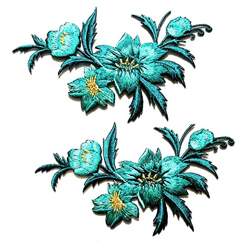 Nipitshop Patches 1 Pair Jasmine Flower Blue Embroidery Appliques Sew Iron on Patch DIY Embroidered Sew Iron on Patch for Clothes Backpacks T-shirt Jeans Skirt vests scarf Hat Bag