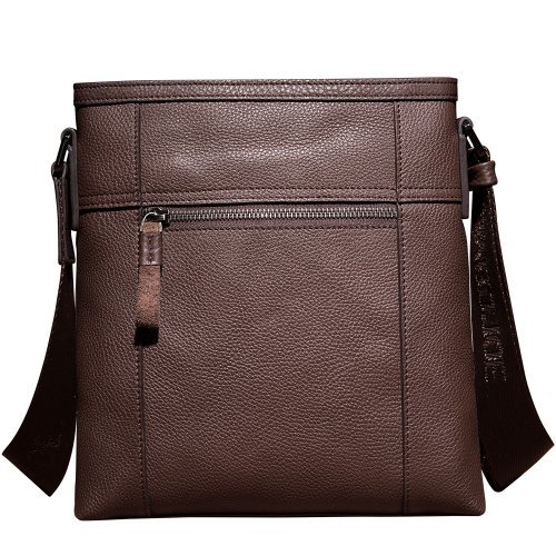 Oneworld Quality Handbag Shoulder Messenger Top One High Cowhide Leather Cross Open Real Men's Body Genuine Coffee 0q05Bwr