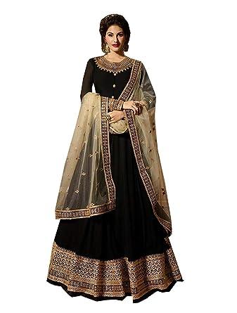 81bf74ca8b Range Of India Women's Anarkali Salwar Kameez Designer Indian Dress Ethnic  Party Embroidered Gown Black