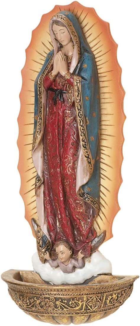 "Joseph's Studio by Roman - Our Lady of Guadalupe Holy Water Font, Renaissance Collection, 7.5"" H, Resin and Stone, Religious Gift, Decoration, Collection, Durable, Long Lasting"