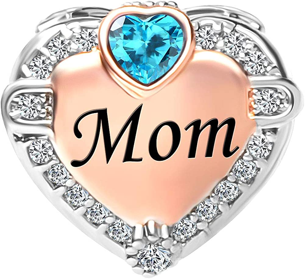 Perle avec l/'inscription du mois de naissance Korliya Breloque pierre de naissance orn/ée de cristaux pour bracelet de janvier /à d/écembre fran/çais non garanti