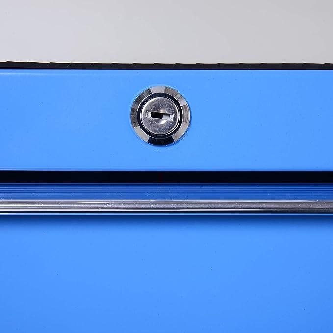 Carro Caja de Herramientas Taller Movil con 5 Cajones Azul Chapa de Acero NUEVO