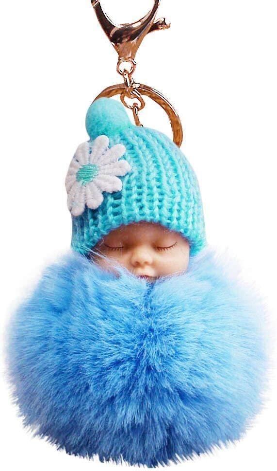 12 Super Cute Baby Shower Favors Sleeping Baby Faux Fur Pom Pom Keychain Tag