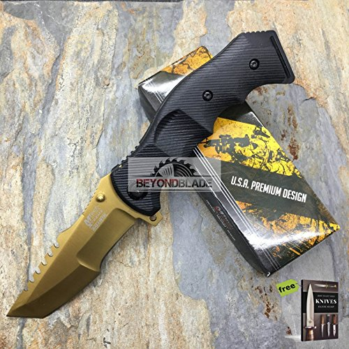 Mtech USA Extreme Tactical Military Amry Rescue Spring Assisted Sawback Knife + Free eBook by SURVIVAL STEEL ()
