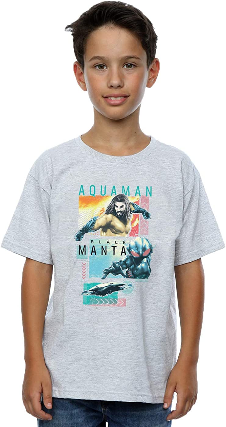 DC Comics Boys Aquaman Character Tiles T-Shirt