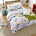 MAXYOYO New!Simple Colorful Shark in the Sea Duvet Cover Set,Fish Cotton Bedding Set for Kids Twin Full Queen Size