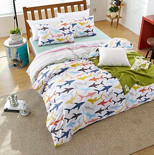 MAXYOYO New!Simple Colorful Shark in the Sea Duvet Cover Set,Fish Cotton Bedding Set for Kids Twin Full Queen Size (Full) (Shark Full Size Sheets compare prices)