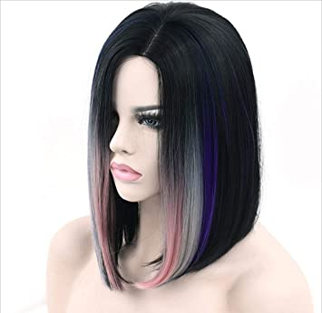 Lylyss Farben Hochtemperatur Seide Gerade Haar Schwarz Rosa Lila
