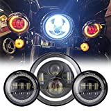 Black 7'' Inch Harley Daymaker LED Headlight with DRL+ 2x 4.5'' 30w Fog Light Passing Lamps for Harley Davidson Motorcycle