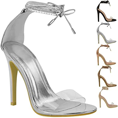 7ffe50de595 Womens Ladies High Heel Barely There Clear Perspex Ankle Strappy Sandals  Size UK  Amazon.co.uk  Shoes   Bags