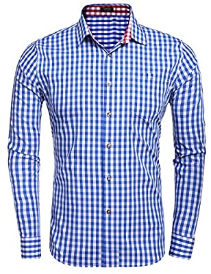 Coofandy Men's Long Sleeve Plaid Checkered Casual Button-down Shirt