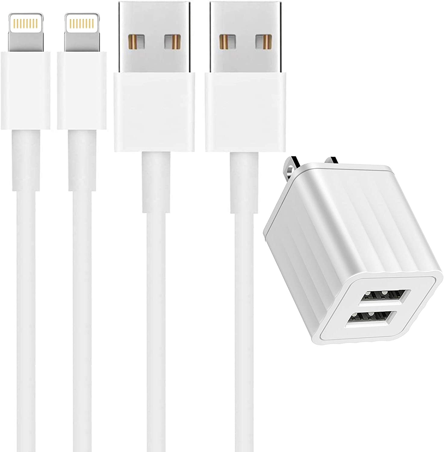 [Apple MFi Certified] iPhone Charger, 2 Pack 6FT Lightning to USB Fast Charging Data Sync Transfer Cord & Dual Port USB Wall Charger(UL Listed)Plug Compatible with iPhone 12/12 Pro/11/XS/XR/X 8 7/iPad