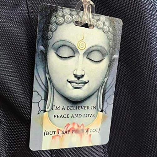 Personalized Peace Love Buddha Yoga Luggage Beach Travel Bag Tag ID Contact Card by TLC Safety By Design (Image #3)