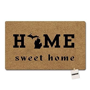 SGBASED Door Mat Home Doormat Michigan Home Sweet Home Mat Washable Floor Entrance Outdoor & Indoor Rug Doormat Non-Woven Fabric (23.6 X 15.7 inches)