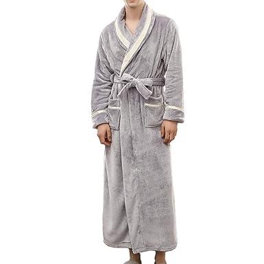 Bata de baño Talla Grande Pijamas para Hombre 🌲 Albornoz Alargado de Invierno para Hombre Ropa