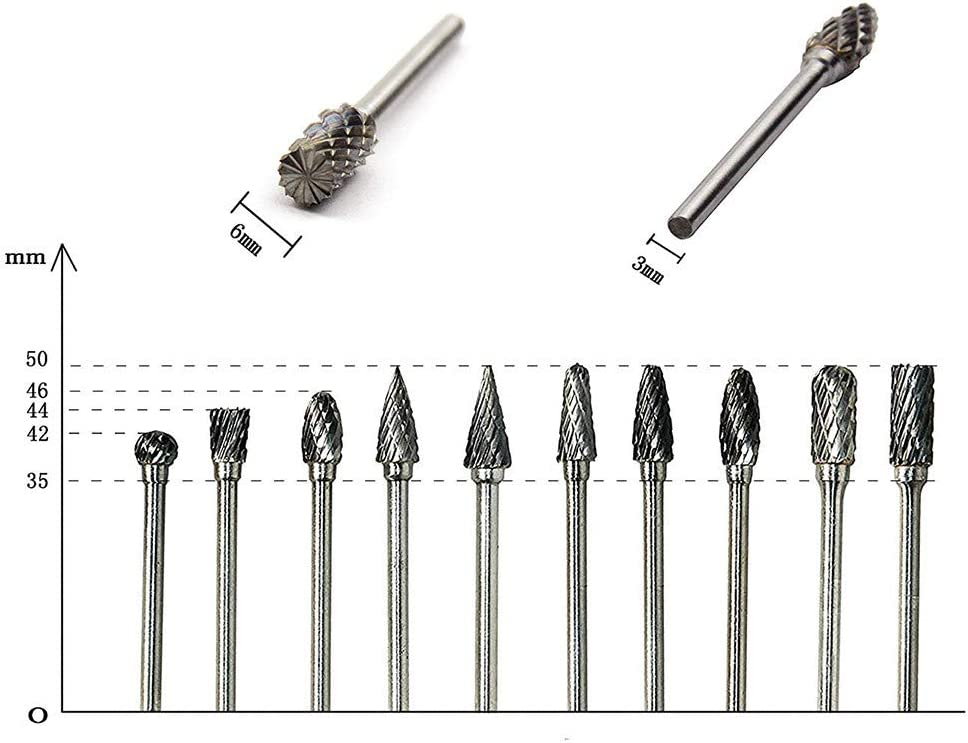 Fulijie Tungsten Carbide Burr Cutting Burs with 1//8 Inch Shank for Drilling Metal Carving Engraving Polishing and DIY Woodworking 10pcs Burrs Set Silver