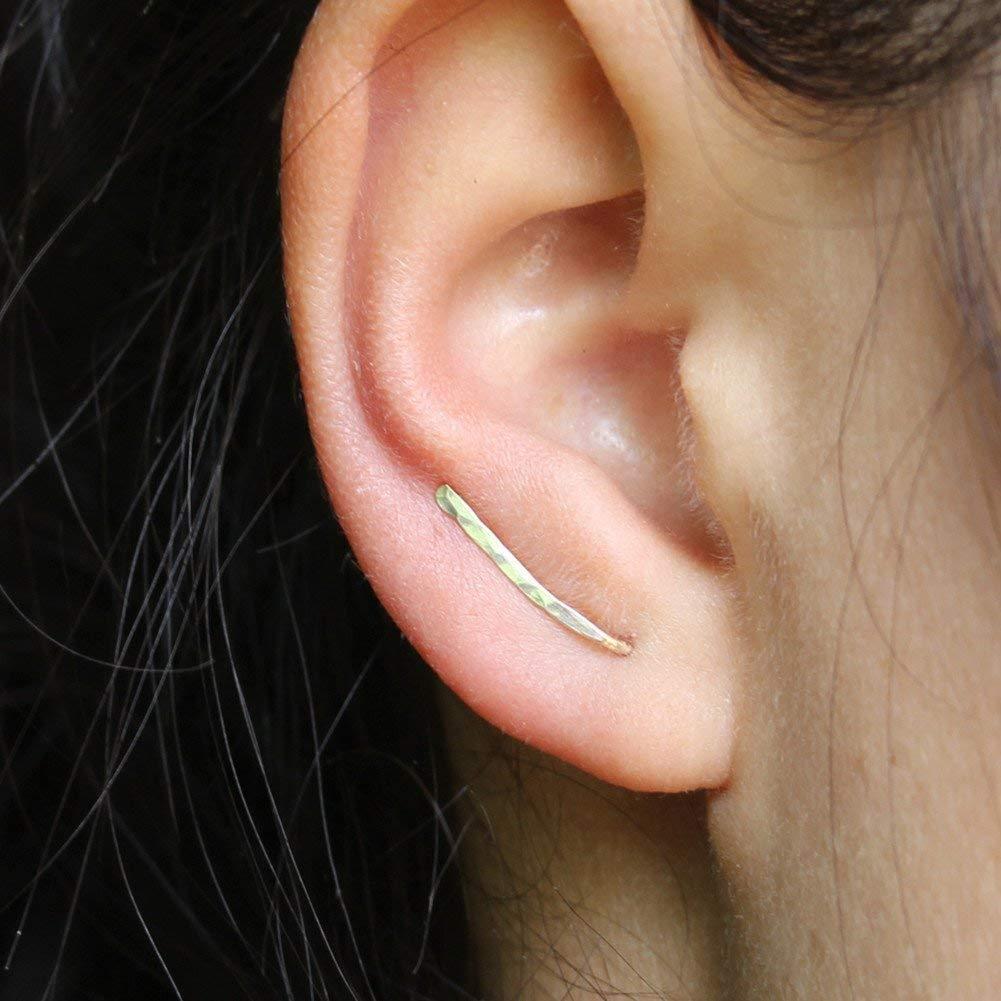 15mm Ear Crawler Earrings Small Ear Climber Earrings Hypoallergenic Ear Jacket for Women Sterling Silver, 14k Gold Filled, Rose Gold Filled 61MwBxY3WIL