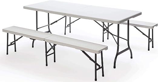 Set Birreria da Giardino Pieghevole in Ferro Tavolo 182x75 cm e 2 Panche Taddei