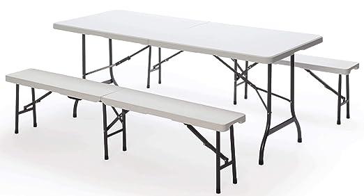 Tavolo Giardino Ferro Bianco.Taddei Set Birreria Da Giardino Pieghevole In Ferro Tavolo 182x75